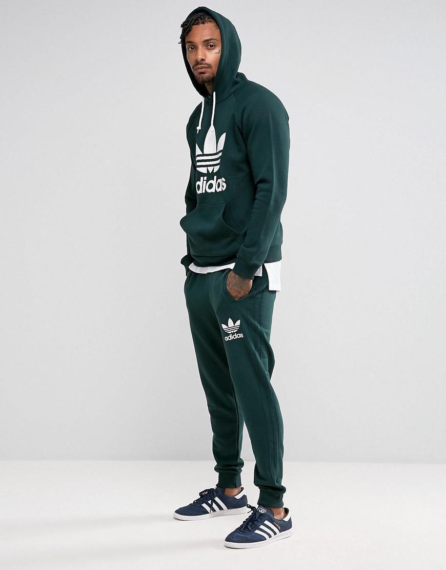 Lyst Adidas Originals 3 Stripe Jogger In Green Bs4637 In