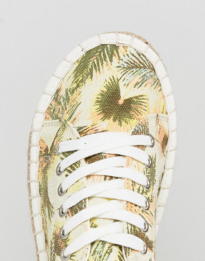 Pimkie Canvas Tropical Print Espadrille Trainers