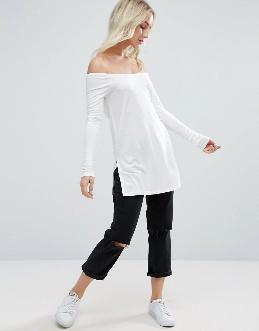 ASOS Synthetic Off Shoulder Slouchy Top With Side Split in White