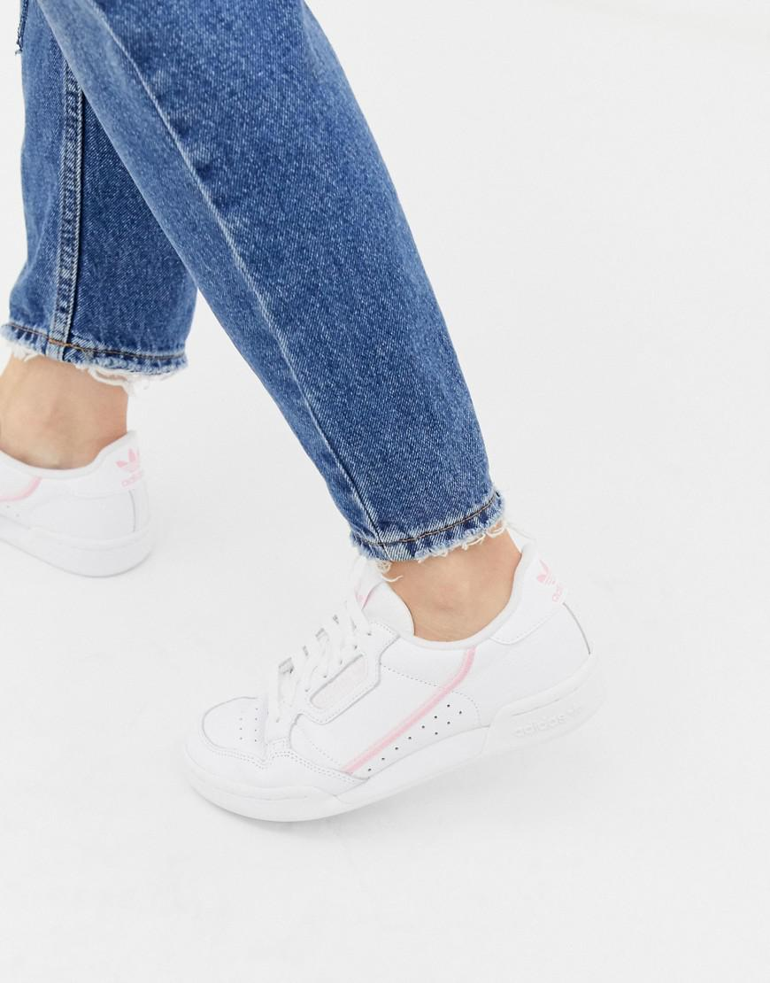 cheap for discount eacb5 b9e20 adidas Originals White And Pink Continental 80 Sneakers in W