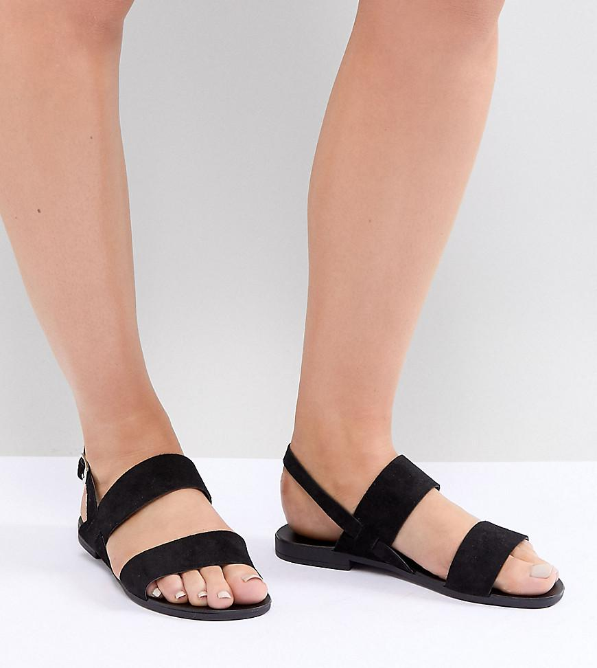 d4f455cd88d7b0 Lyst - New Look Suede Double Strap Flat Sandals in Black