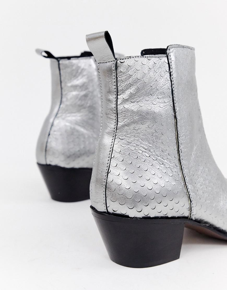59ccb6e5dbc ASOS Wide Fit Stacked Heel Western Chelsea Boots In Silver Leather ...