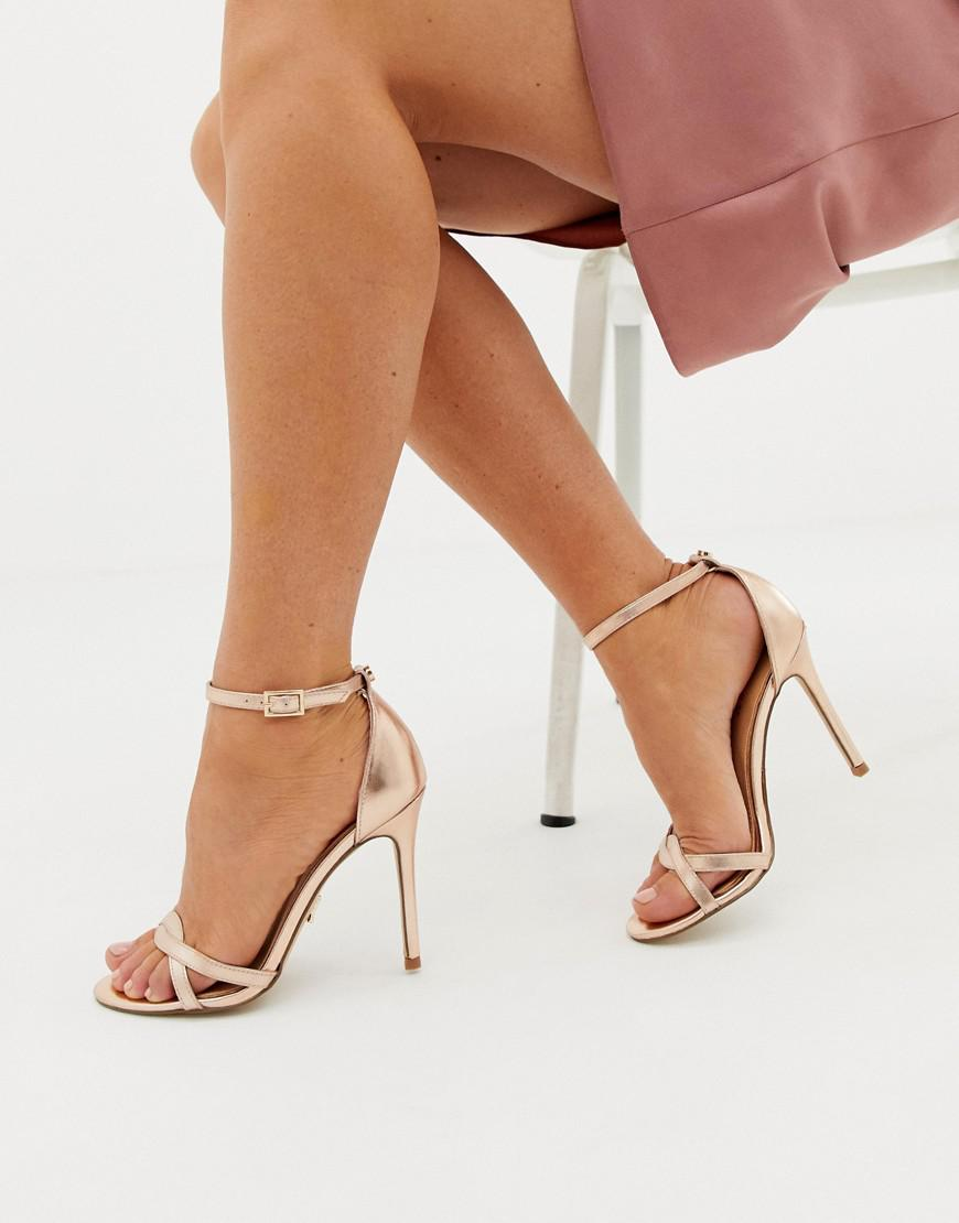 e272066997 Lipsy Twist Strap Barely There Sandal in Metallic - Lyst