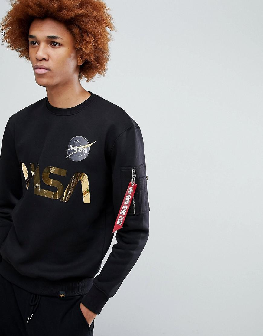 2e18be619 Alpha Industries Nasa Gold Foil Print Crew Neck Sweatshirt In Black for men