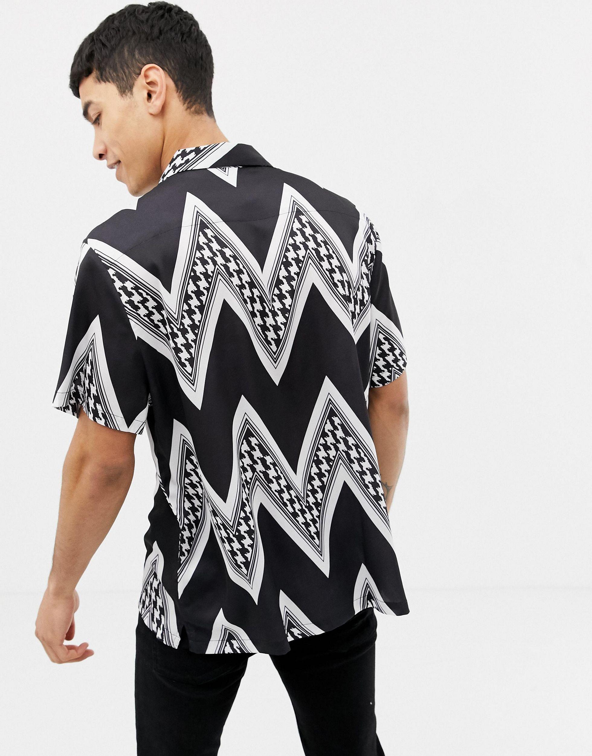 ASOS Satijn Ruimvallend Overhemd Met Pied-de-poule Zigzagstrepen in het Zwart voor heren
