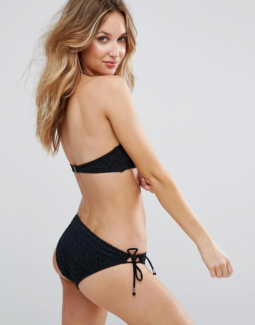 78bc730e93fb6 Lyst - DORINA High Neck Crochet Halter Bikini Top in Black - Save 27%