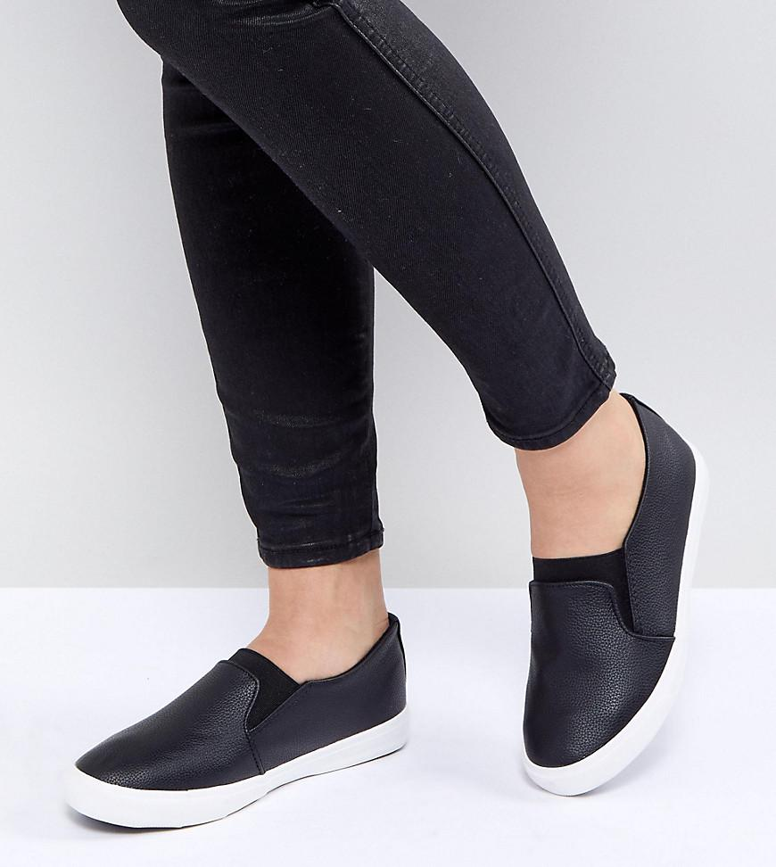 New Look Wide Fit Slip On Leather Look Trainer sale cheap IhuC0