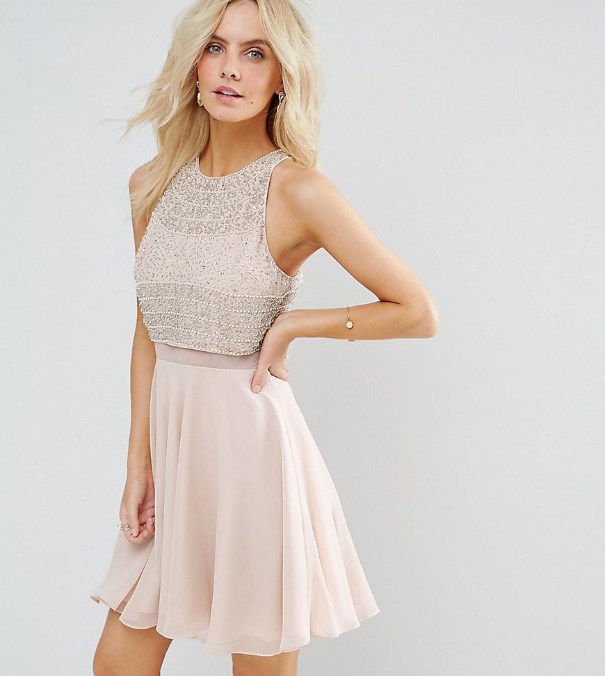 Lyst - ASOS Crop Top Embellished Mini Skater Dress in Natural 00ad1144ced