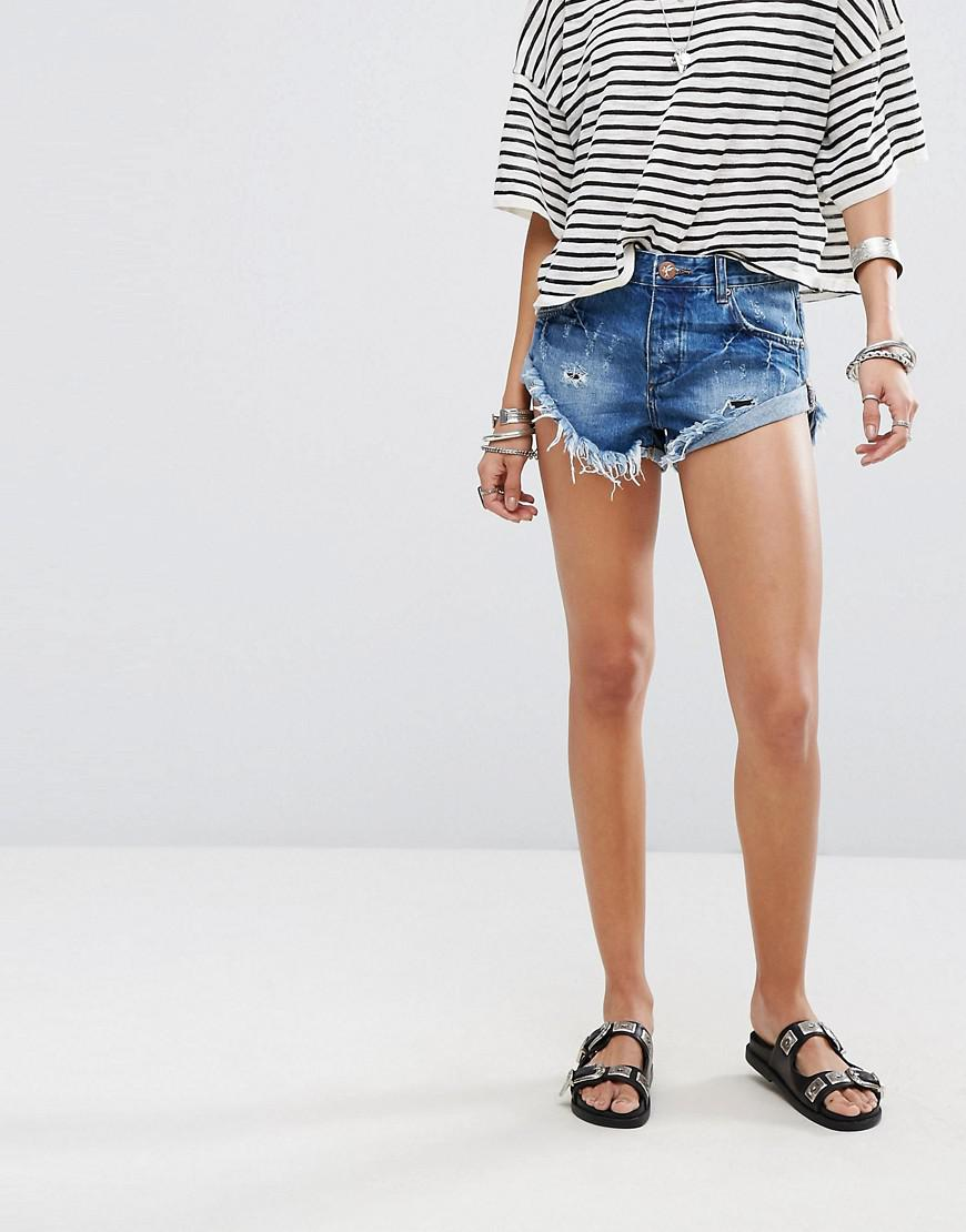 Rollers Low Waist Raw Hem Denim Shorts With Distressing - Blue jack One Teaspoon SUSBcGBO