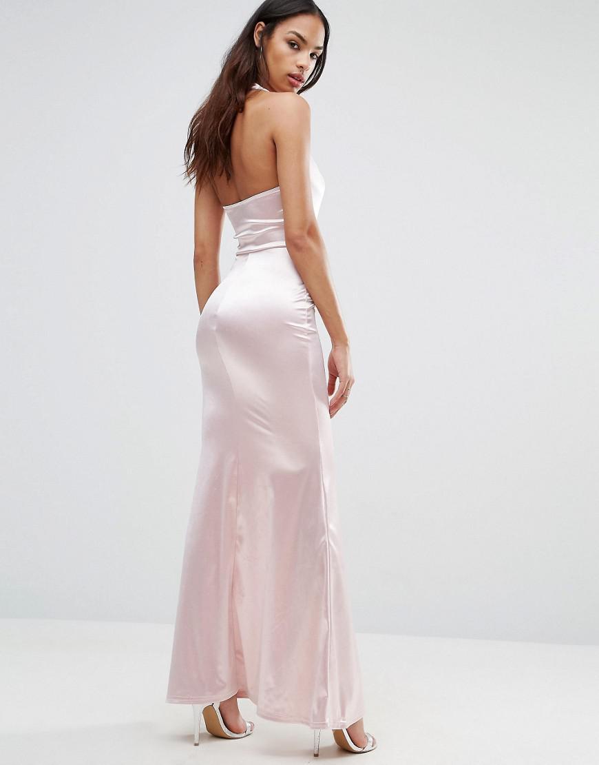 Lyst Club L Halterneck Detail Satin Fishtail Maxi Dress