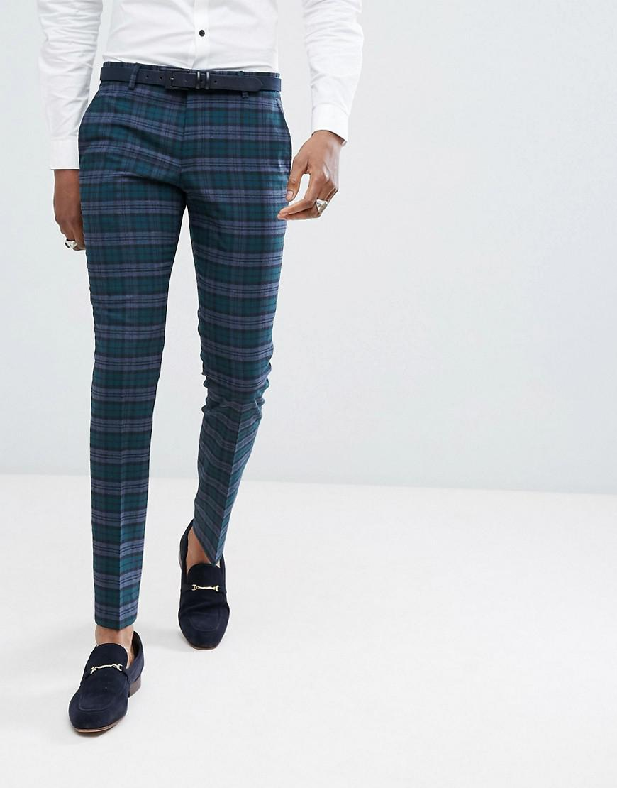 d53d315b0c026 Noose And Monkey Super Skinny Suit Pants In Plaid Check in Green for ...