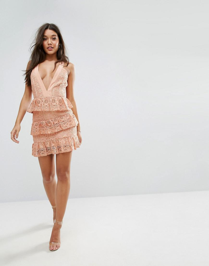 6994ad47c331 Missguided Tiered Lace Plunge Mini Dress in Orange - Lyst