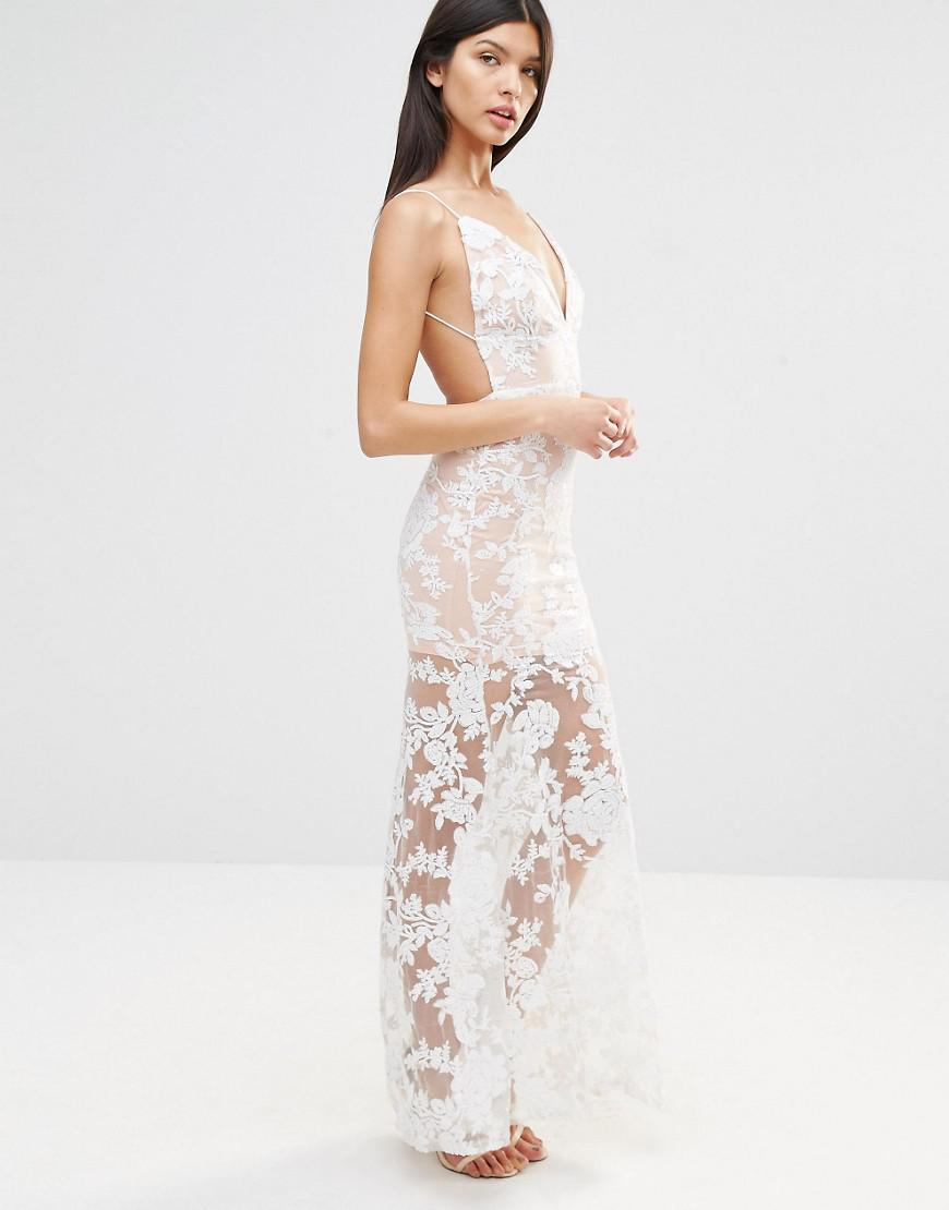 961b415f Club L Cami Strap Floral Sequin Fishtail Backless Maxi Dress in ...