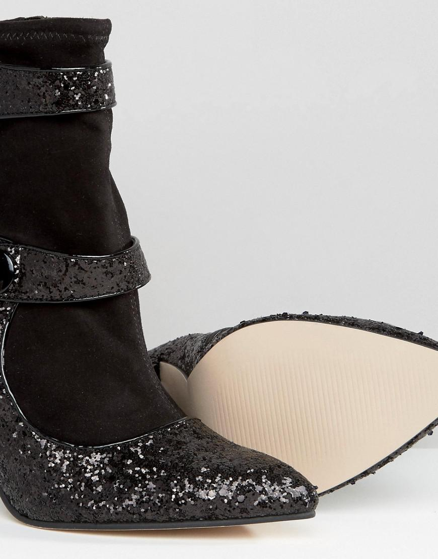Lyst Asos Elysia Glitter Pointed Ankle Boots In Black