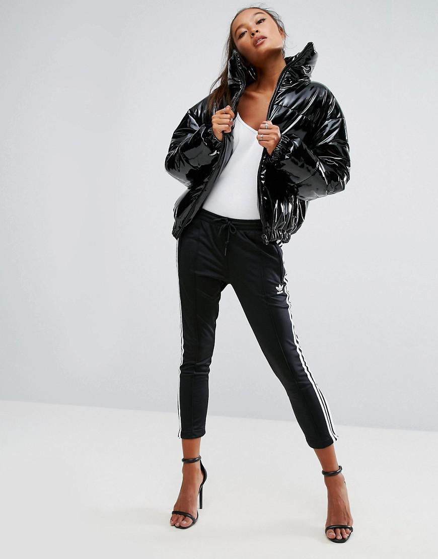 Lyst Asos High Shine Patent Quilted Jacket In Black