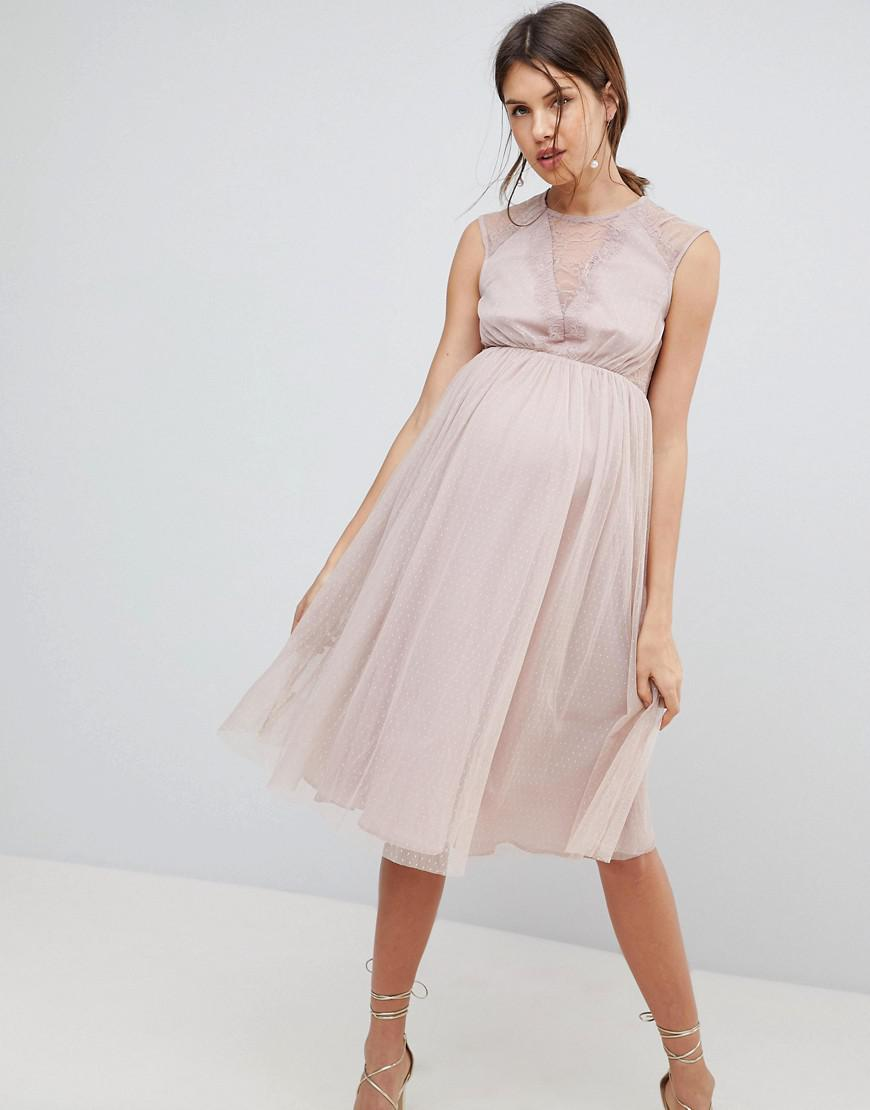 e37ac020c5fe7 Lyst - ASOS Lace Tulle Cap Sleeve Midi Dress in Pink