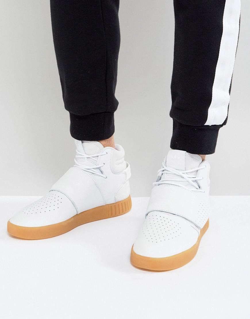 low priced b99e0 5be45 adidas Originals Leather Tubular Invader Strap Trainers In ...