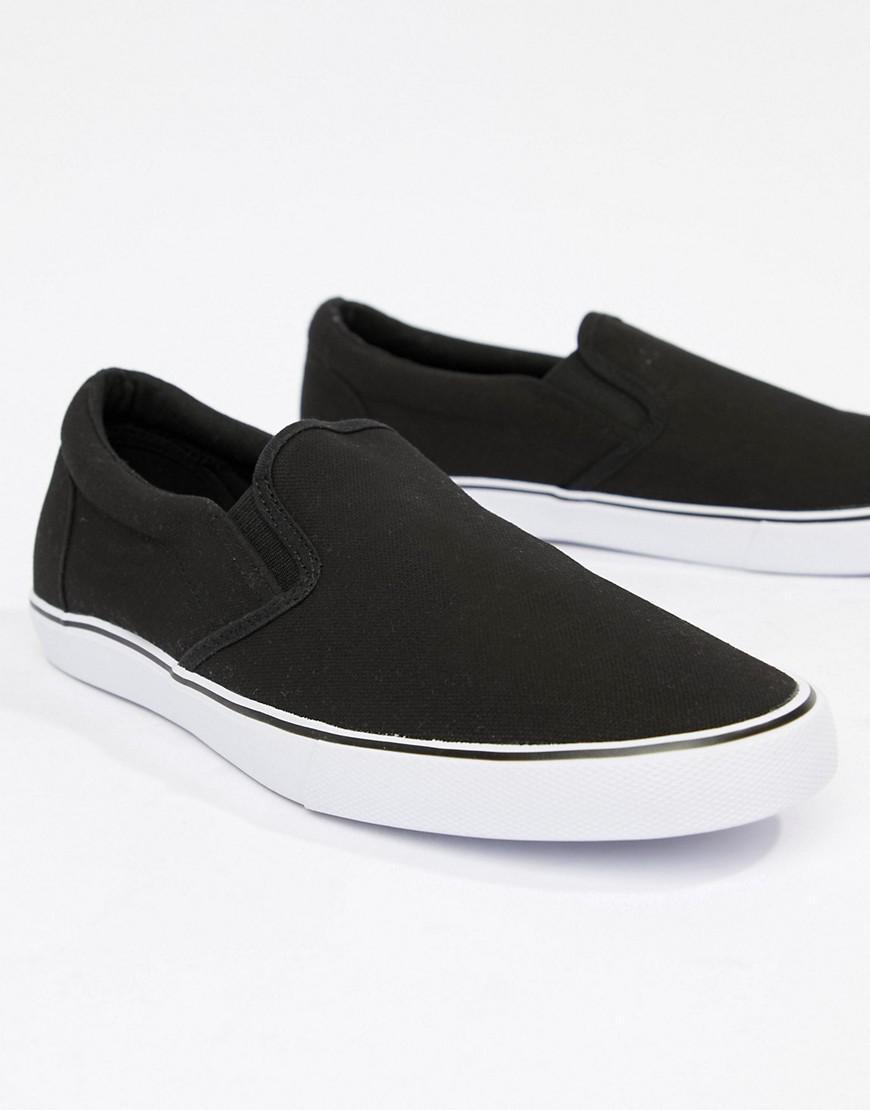 ASOS Canvas Wide Fit Slip On Plimsolls in Black for Men