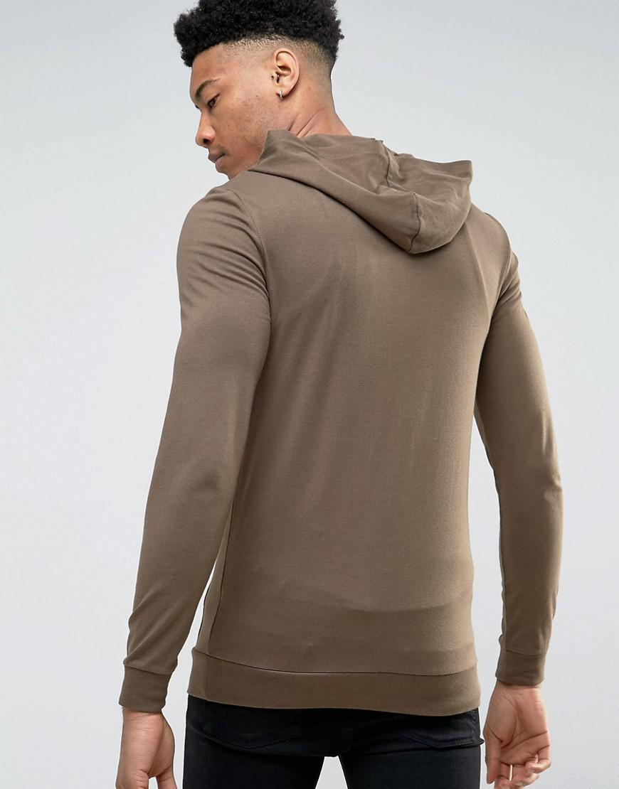 a1f8853093f Asos Tall Muscle Zip Up Hoodie In Brown in Brown for Men - Lyst