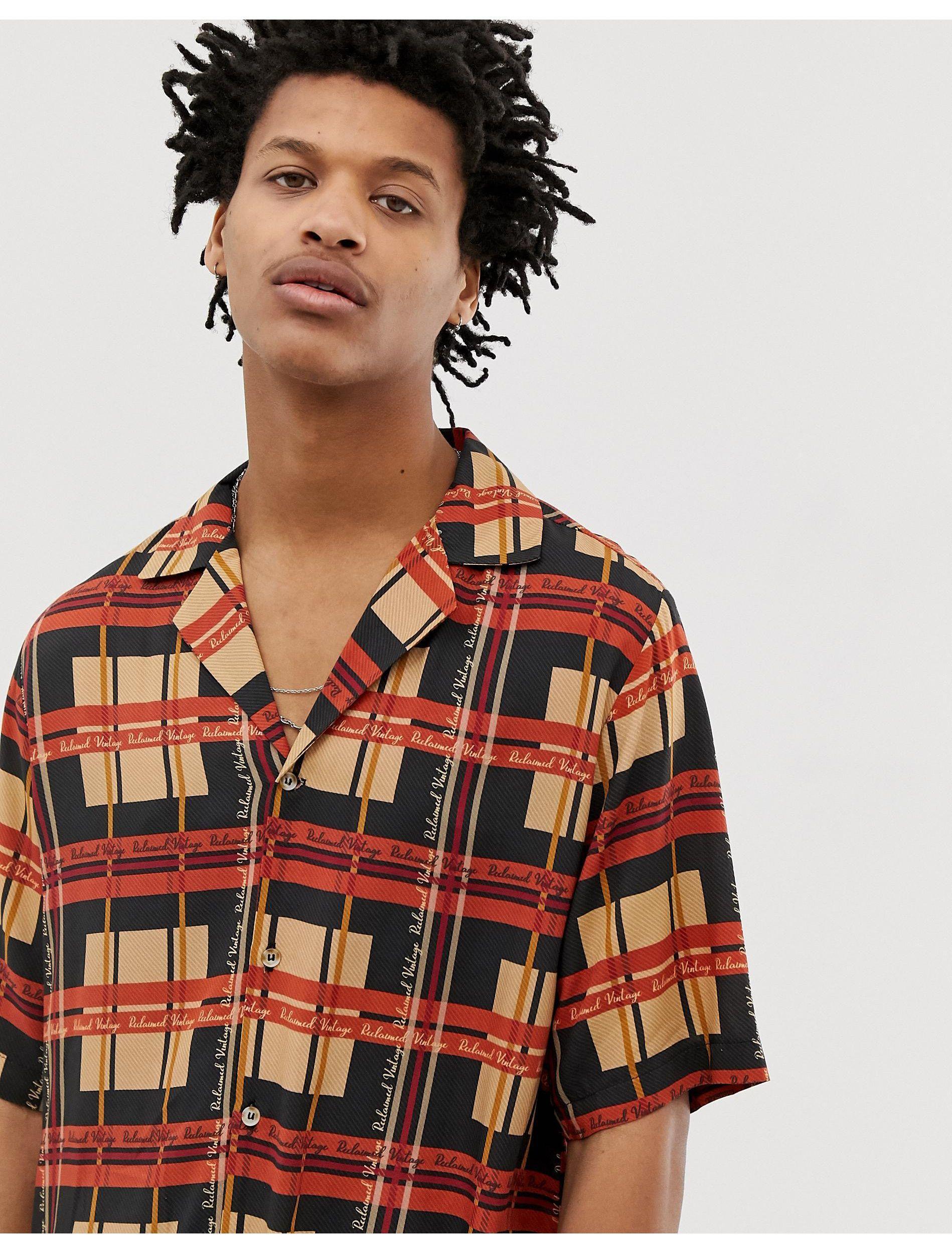 Reclaimed (vintage) Synthetisch Overhemd Met Logo, Reverskraag En Ruitprint in het Zwart voor heren
