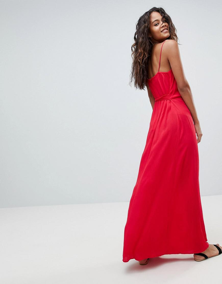 2d3fe4c9f6 Lyst - ASOS Asos Design Tall Wrap Maxi Dress in Red