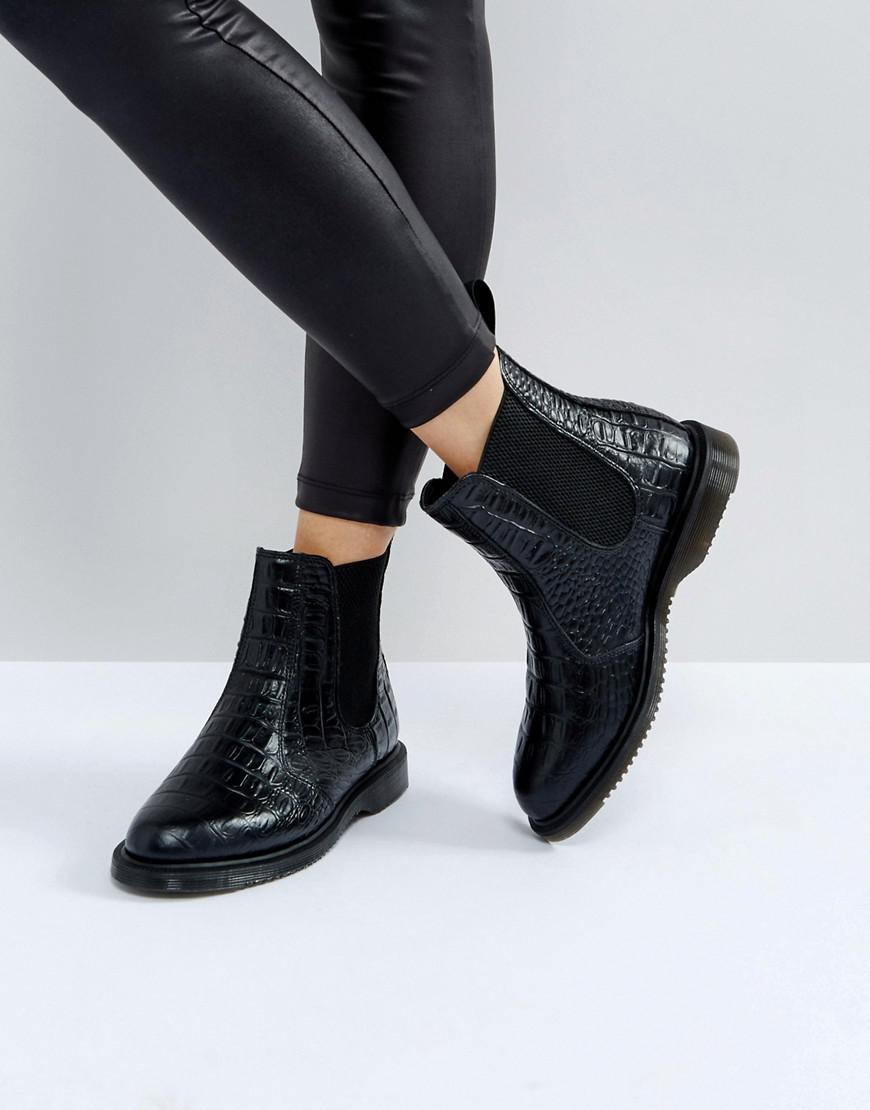 43e65599e1d Dr. Martens Kensington Flora Black Croco Chelsea Boots in Black - Lyst