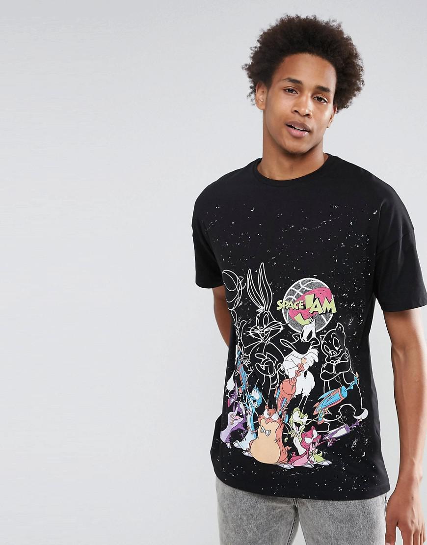 Lyst asos space jam oversized t shirt in black for men for Asos design free t shirt