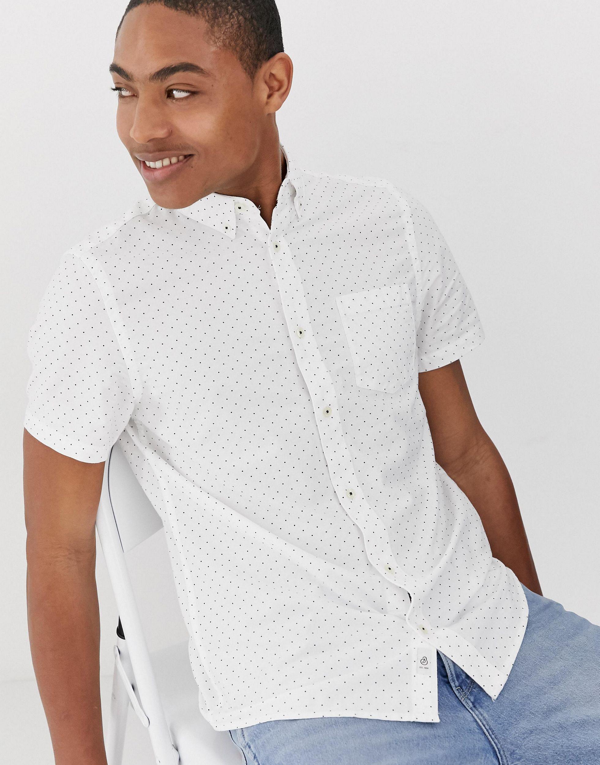 Burton Katoen Oxford Overhemd Met Korte Mouwen in het Wit voor heren