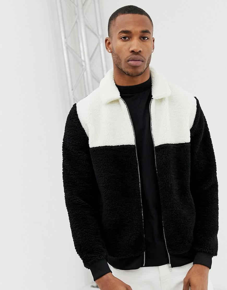 7677d6a4bf09 ASOS Oversized Harrington Jacket With Color Block In Black And White ...