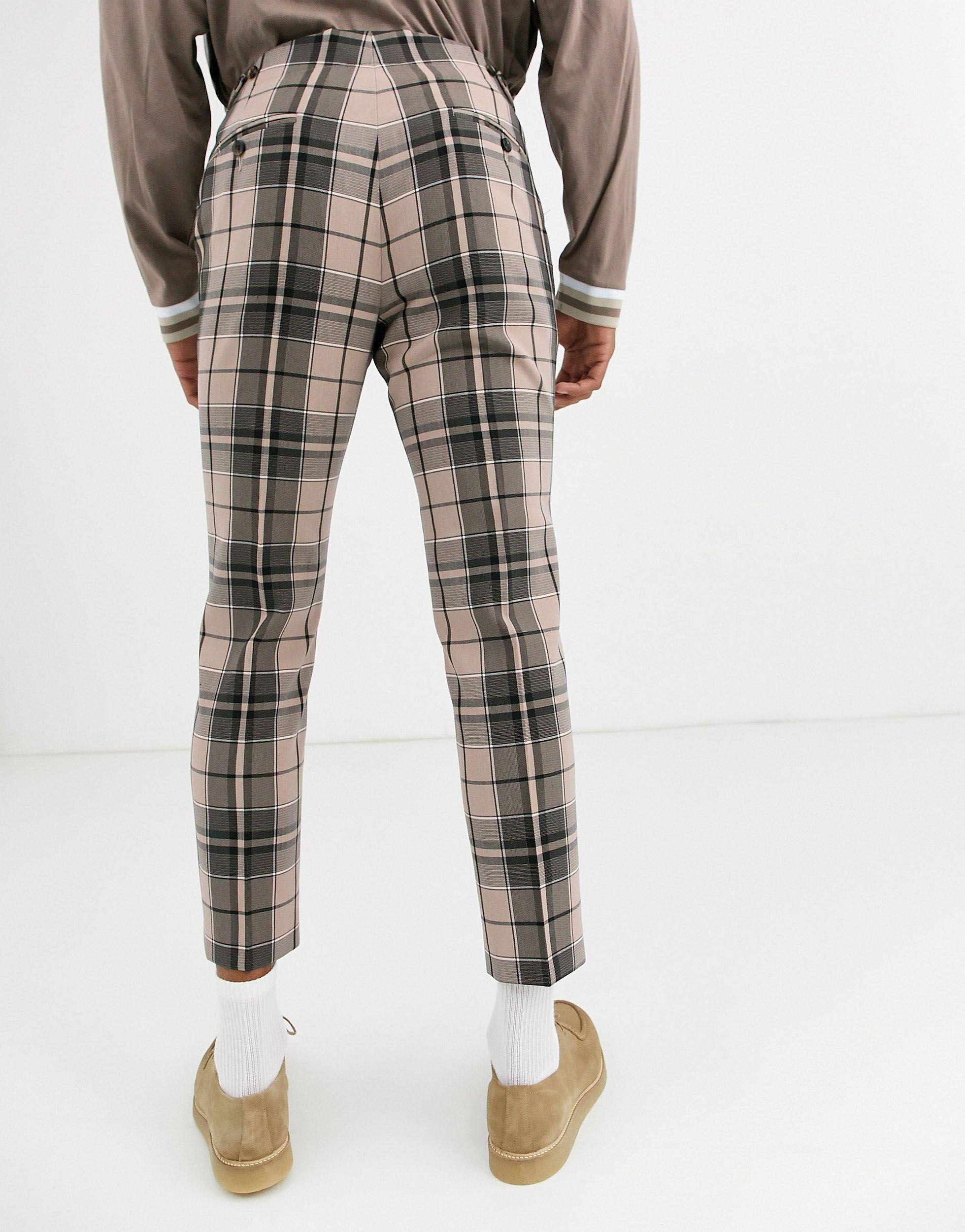 ASOS Synthetisch Skinny Crop Geruite Pantalon in het Naturel voor heren