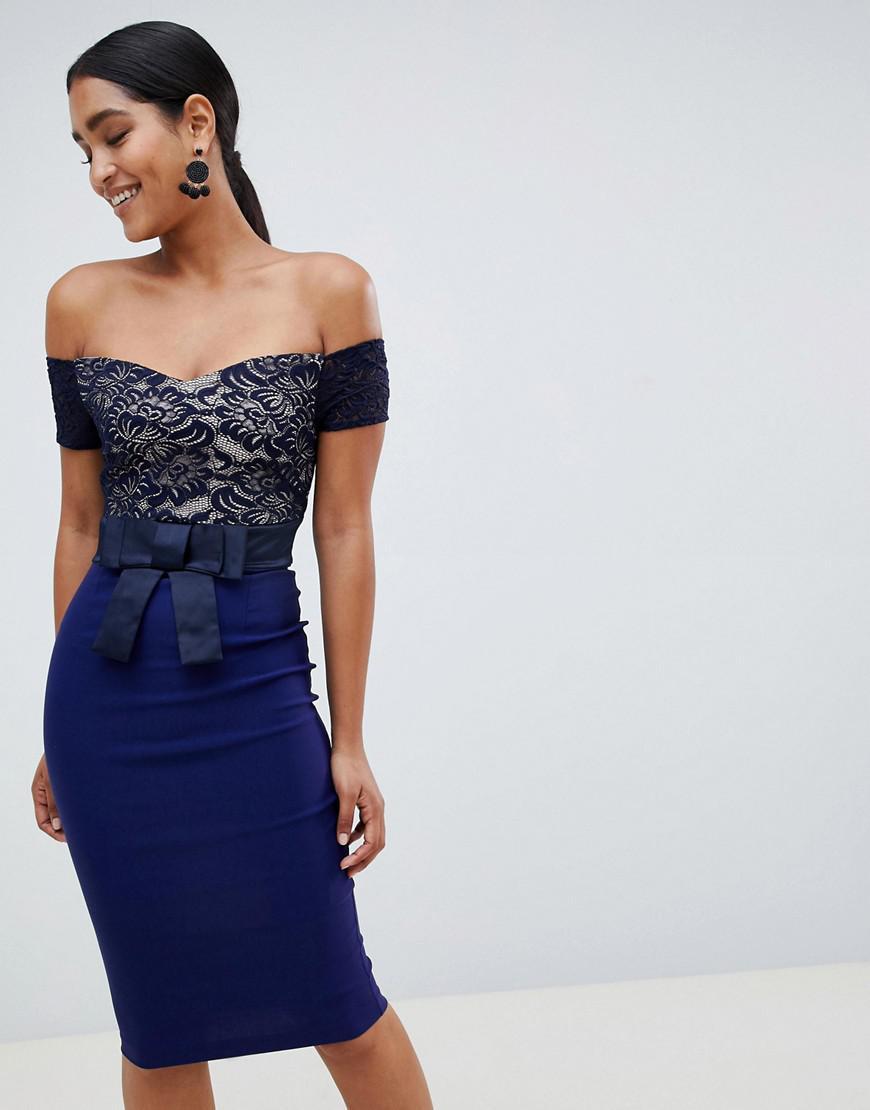 59247111b4bc Lyst - Vesper Bardot Midi Dress With Contrast Lace in Blue