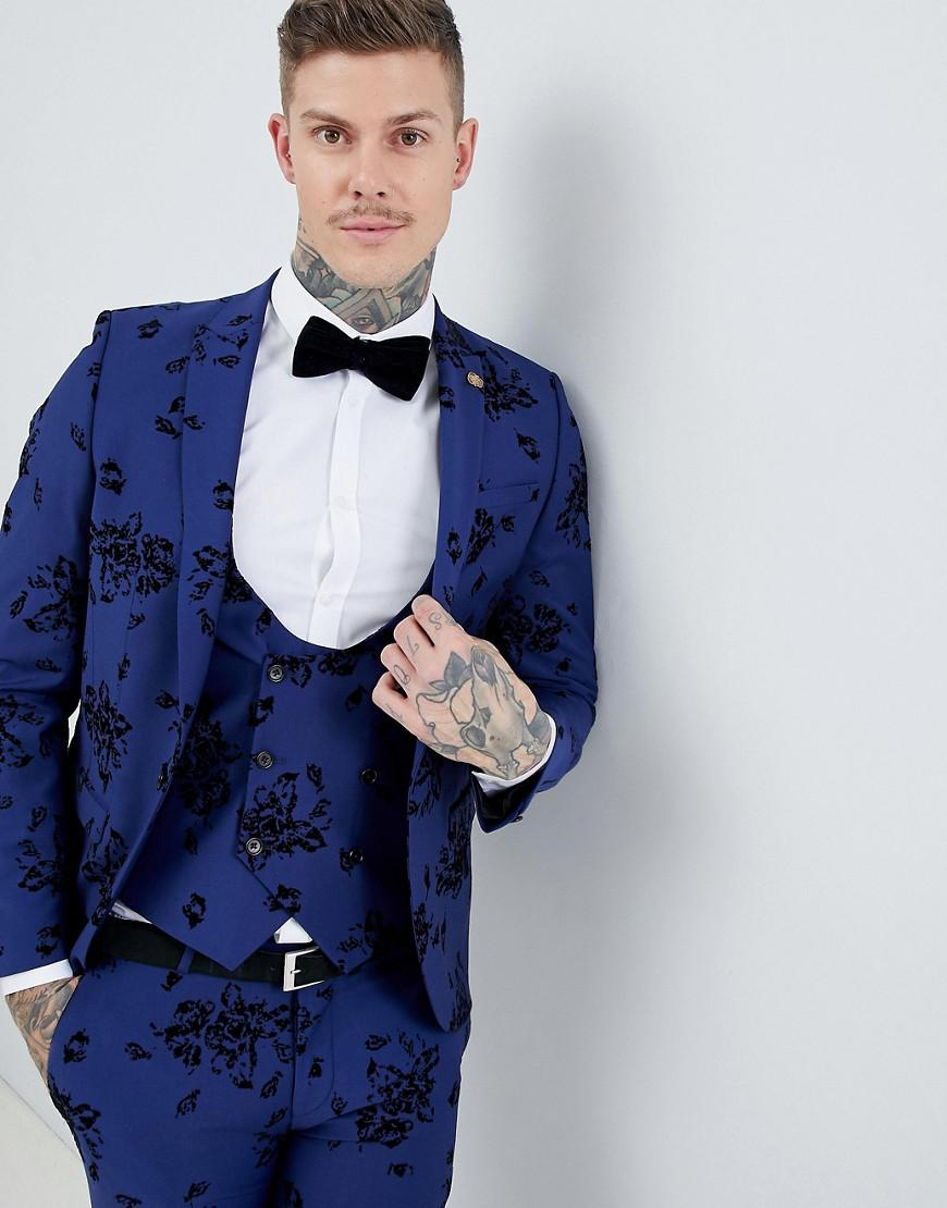 15526bd109b9 Noose And Monkey Super Skinny Suit Jacket In Flocking in Blue for ...