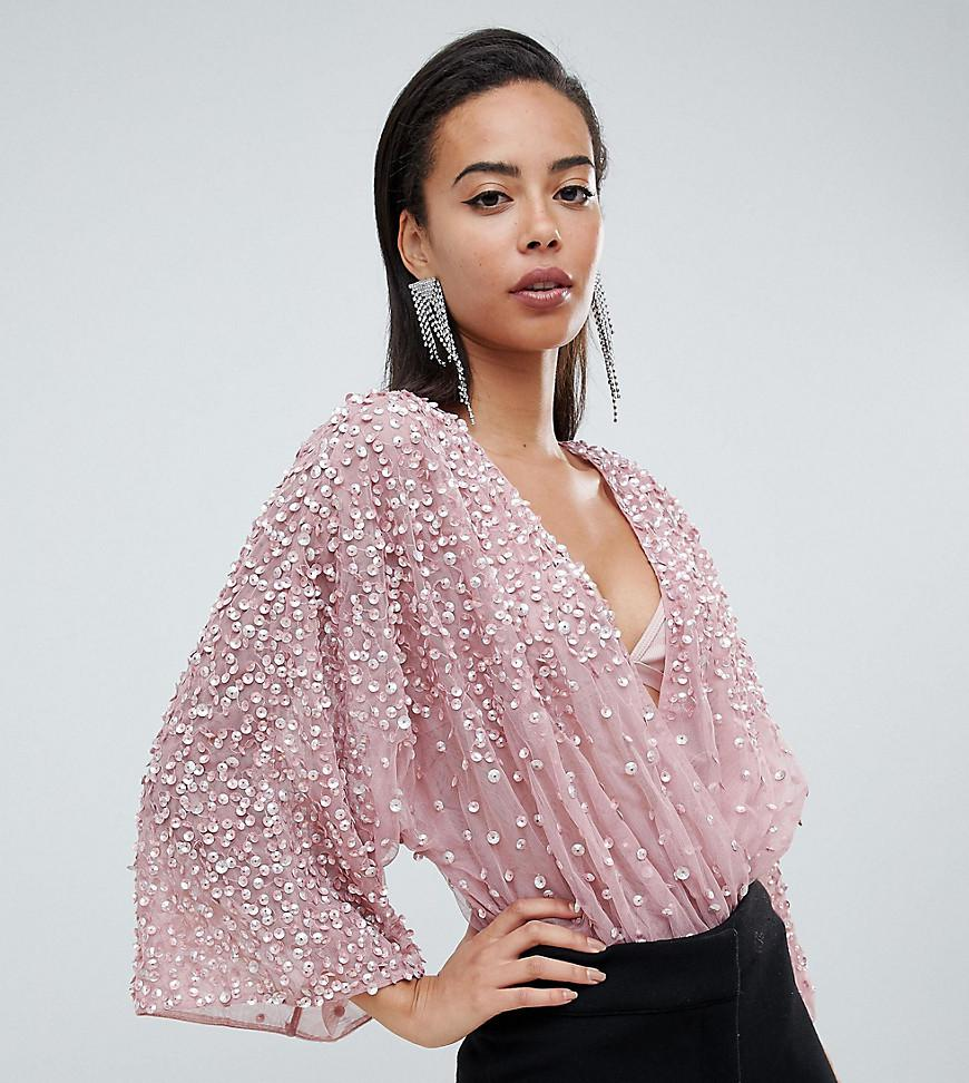05b51feb13c ASOS Asos Design Tall Body In Sequin Embellishment With Plunge Wrap ...