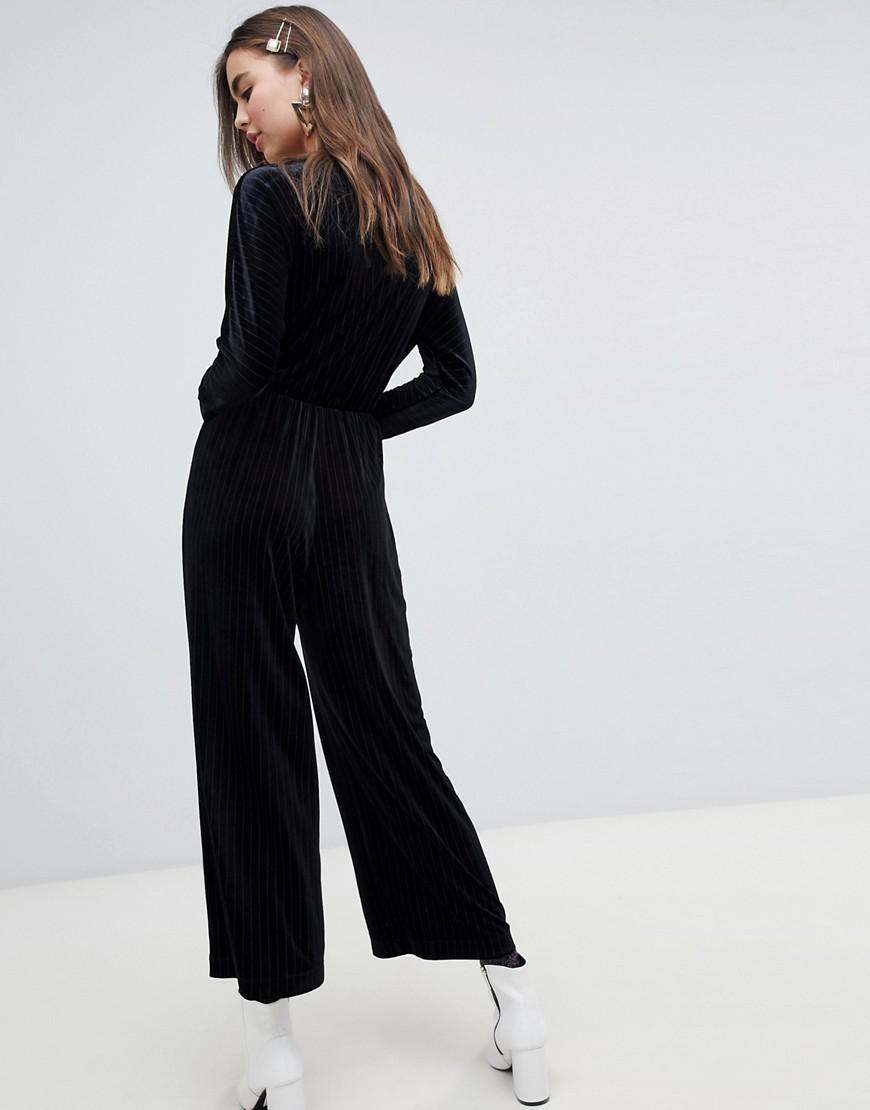 dba46eb1c36 Lyst - Monki Velvet Wrap Front Jumpsuit In Black Stripe in Black