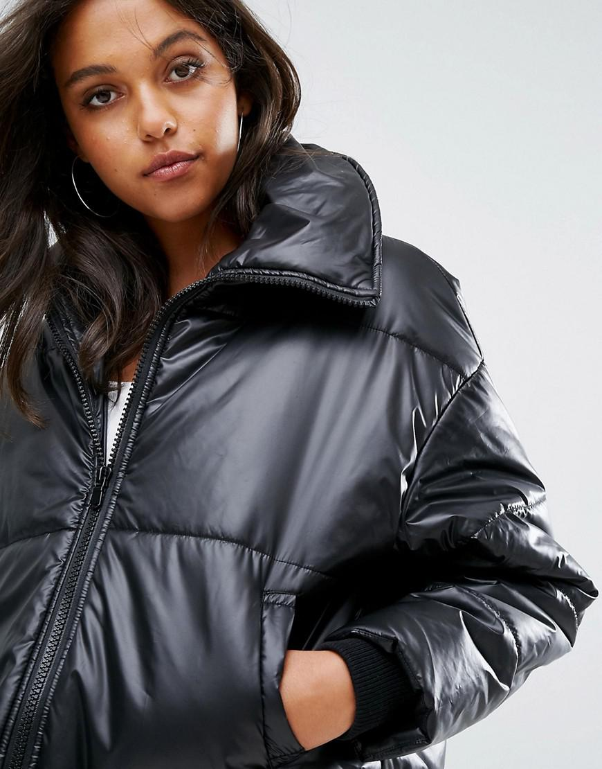 1dbae708f Missguided Black High Shine Cropped Padded Jacket