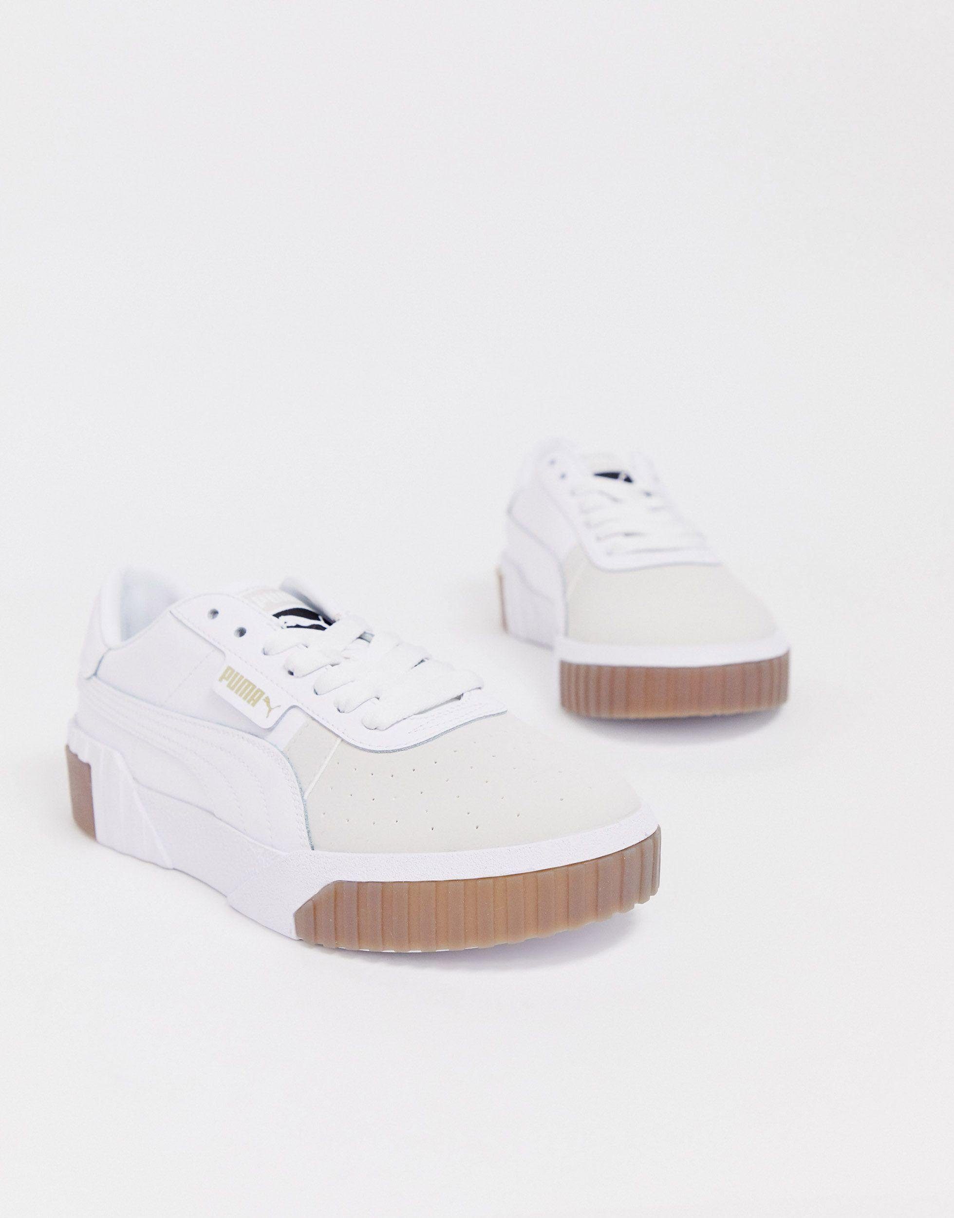 puma exotic cali trainers with gum sole in white