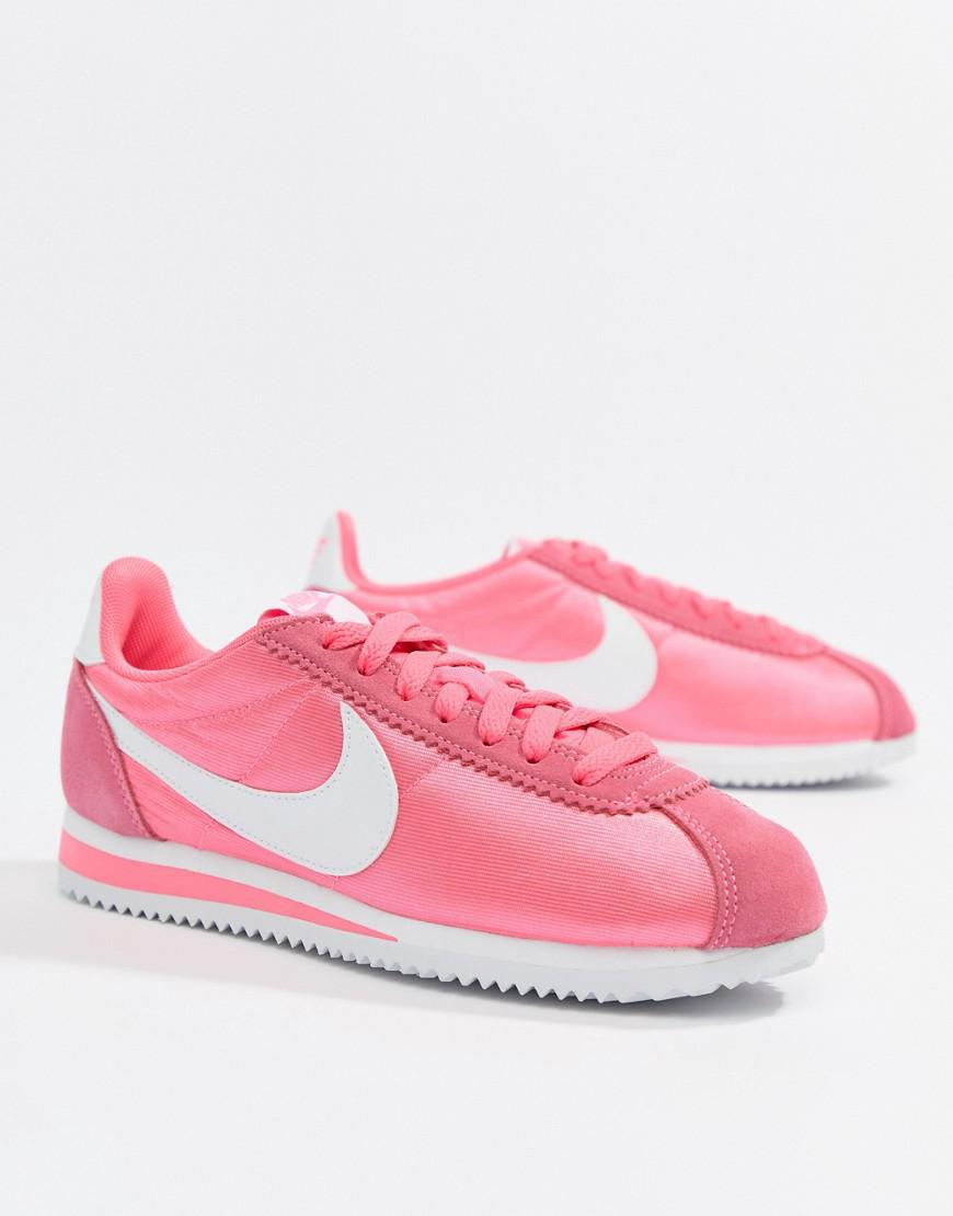 Nike Pink With Swoosh Suede Cortez Trainers