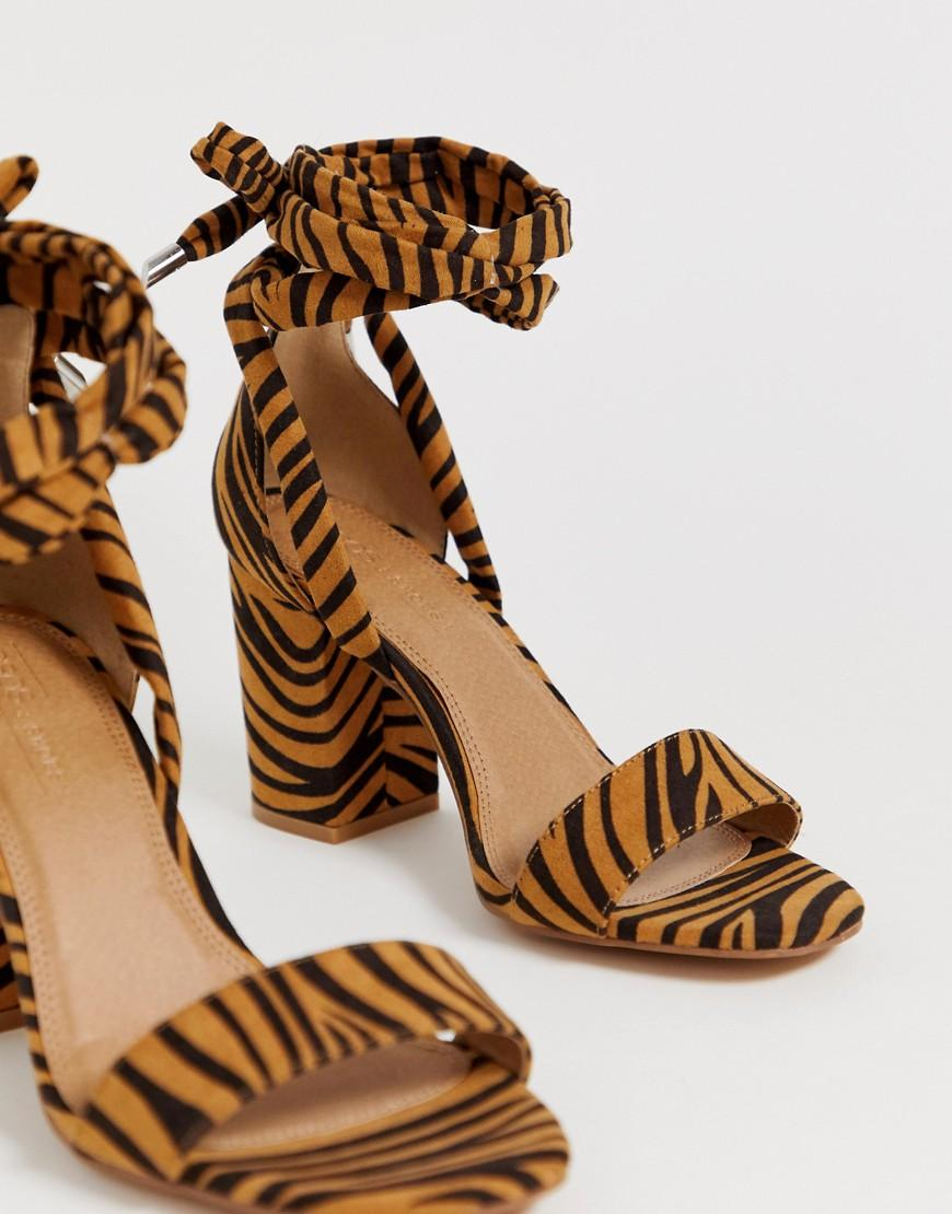 3ecbae0c893 Lyst - ASOS Wide Fit Howling Tie Leg Block Heeled Sandals In Tiger. in Brown