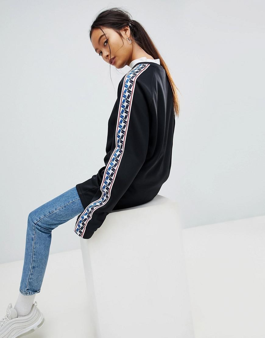 Neck Black Sweatshirt Crew Stripe In Nike With Taped Side qUMzSVpG