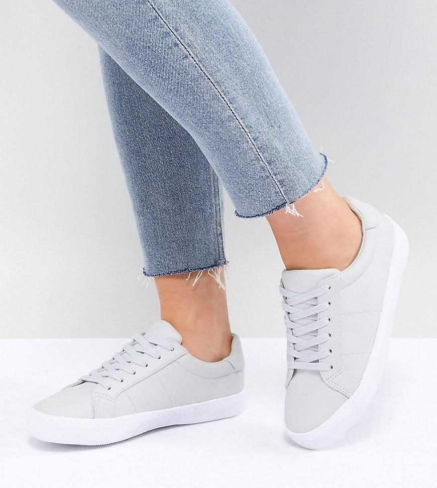 DEVLIN Wide Fit Lace Up Trainers - Grey Asos