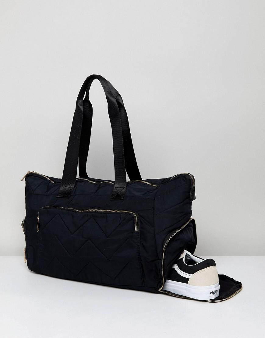 Gold Zipped Holdall with Trainer Compartment - Black Asos SR8Ycv