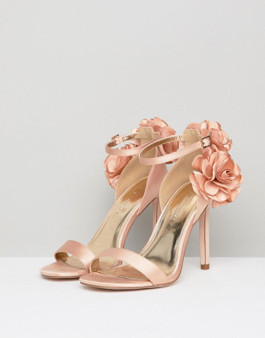 6aef1ab300e4 Lyst - ASOS Holden Wide Fit Corsage Heeled Sandals in Natural