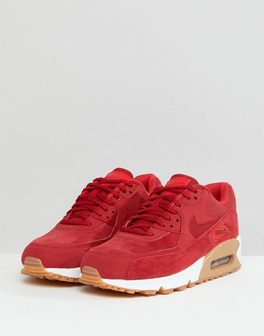 Nike Air Max 90 Red Suede Trainers With Gum Sole