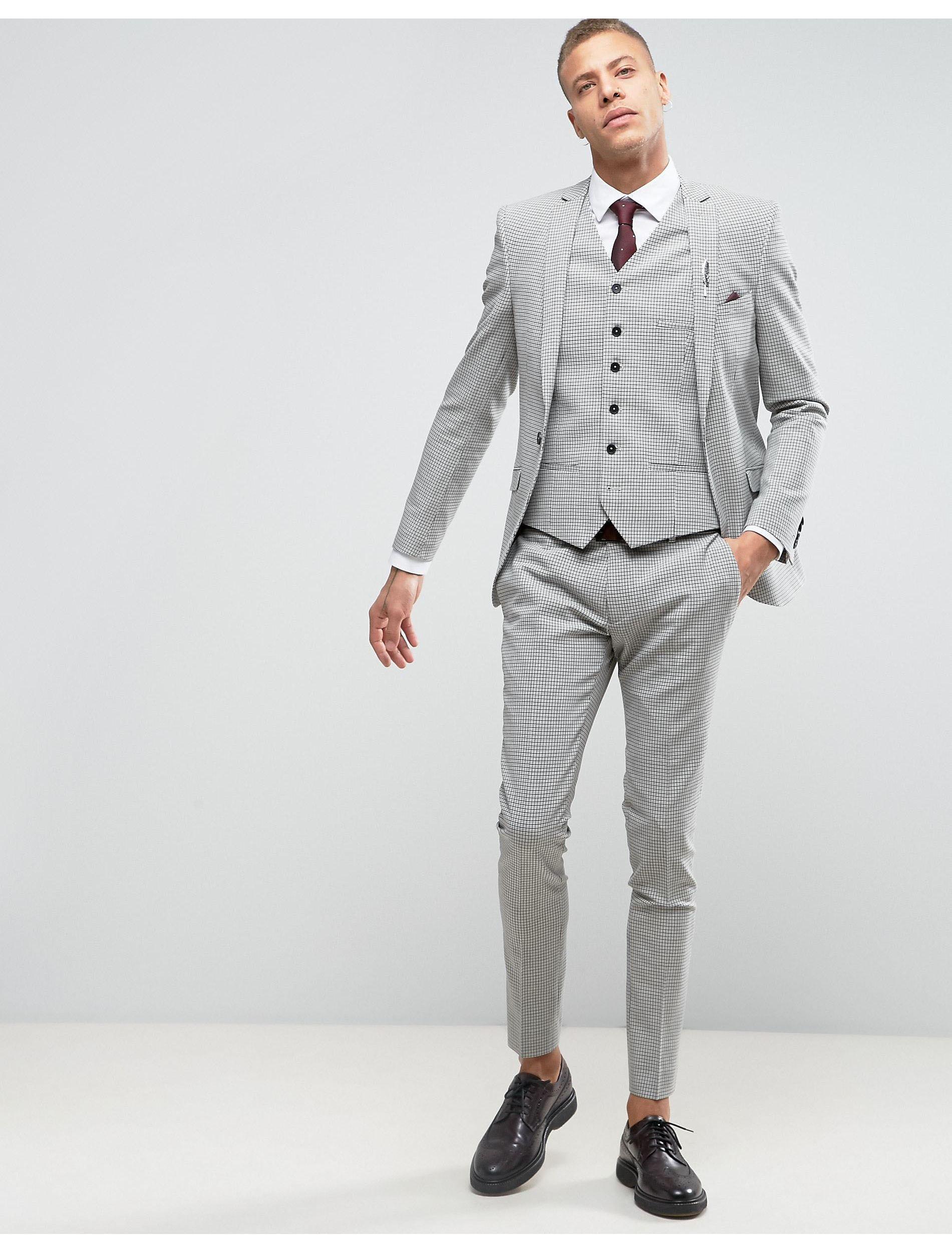 Heart & Dagger Wool Super Skinny Suit Jacket in Grey (Grey) for Men