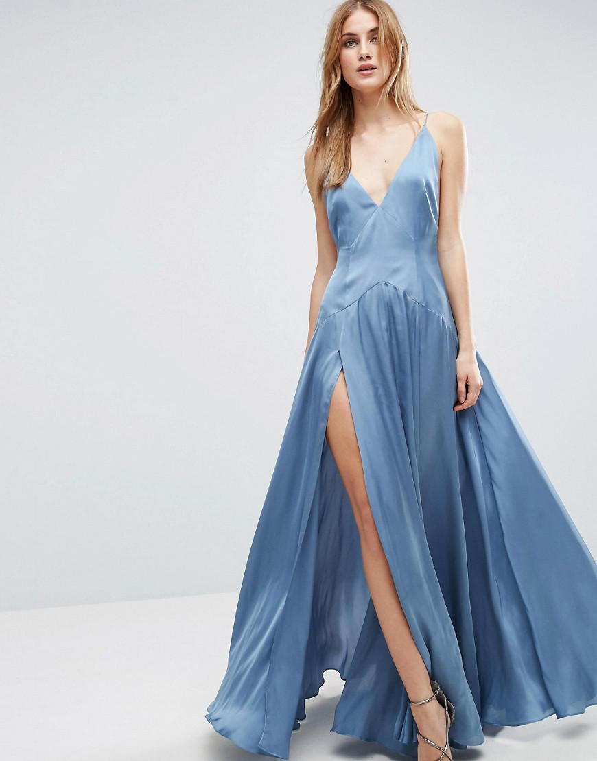 Lyst - Asos Cami Panelled Thigh Split Maxi Dress in Blue