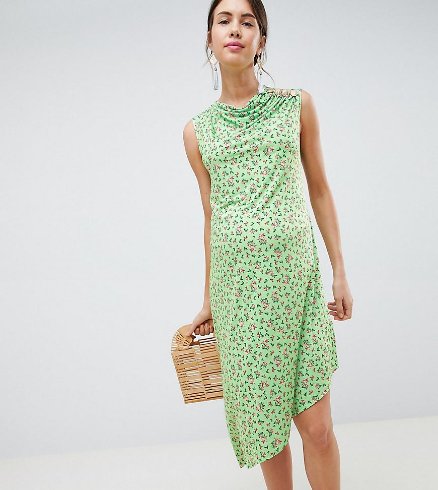 ASOS ASOS DESIGN Maternity ditsy print midi dress with button detail Cheap Sale Perfect Cheap Clearance Clearance Best Place Low Shipping For Sale Clearance With Paypal liIPkYqQO7