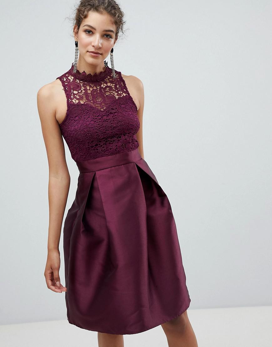 9908828b11 Ax Paris Skater Dress With Lace Detail in Purple - Lyst