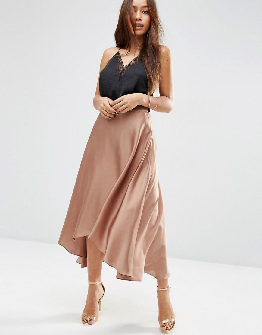 Asos Midi Skirt In Satin With Splices In Brown Lyst