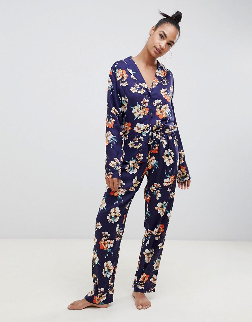 ASOS. Women s Blue Oversized Sketched Floral Print Traditional 100% Modal  Pants Set 41cf8dd92