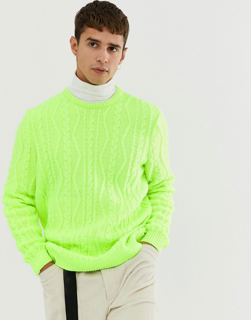 4d0e3bcb ASOS Oversized Cable Knit Jumper In Neon Green in Green for Men - Lyst